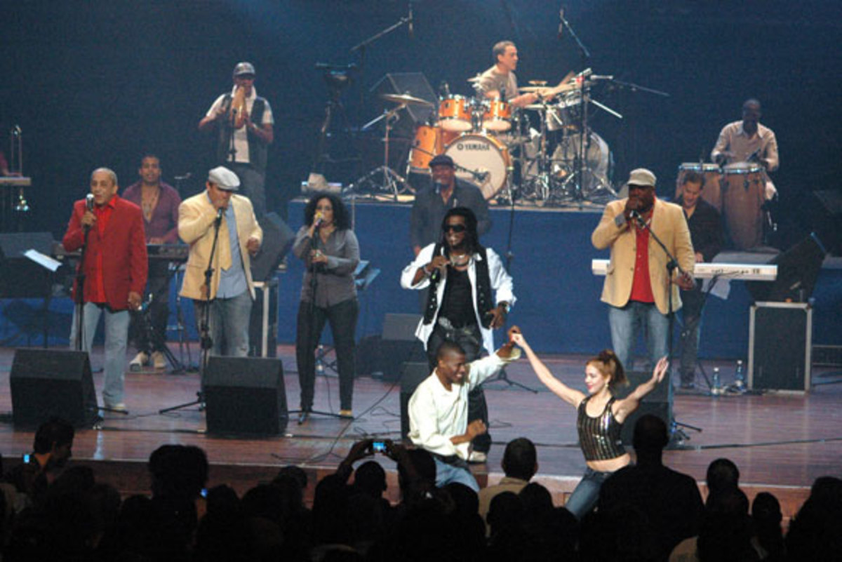 Cuba's most famous Salsa band Loss van Van perform at the James L. Knight Center Miami. They are embarking on a 70-concert tour in numerous cities in the United States, part of the Obama initiative from April 2010