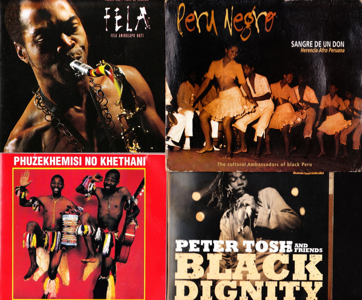 (1) Ransome Fela Kuti (2) Local Peru Africans in a a traditional Afro-Peruvian Dance (3) Phuzekhemisi - the South African South African Singer (4) Peter Tosh's Recordings