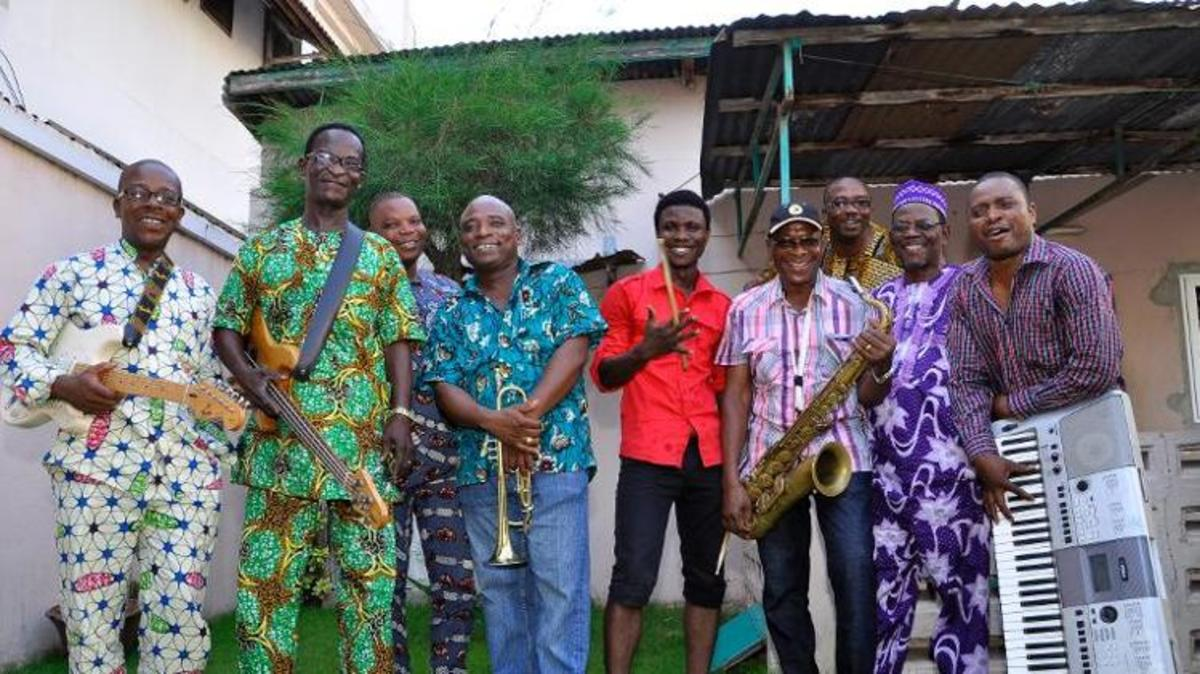 Members of the Orchestre Polyrythmo de Cotonou pose, on January 27, 2014 in Cotonou, Benin