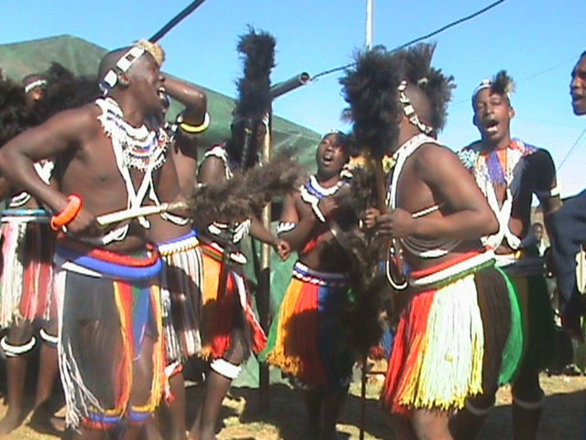Ndebele male initiates dancing to their traditional renditions