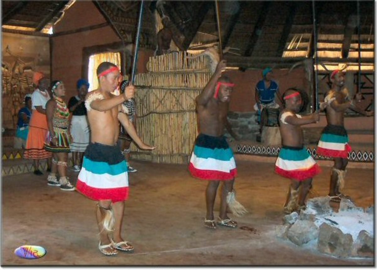The Pedi Male Dancers in south Africa with a visiting Asian dancer