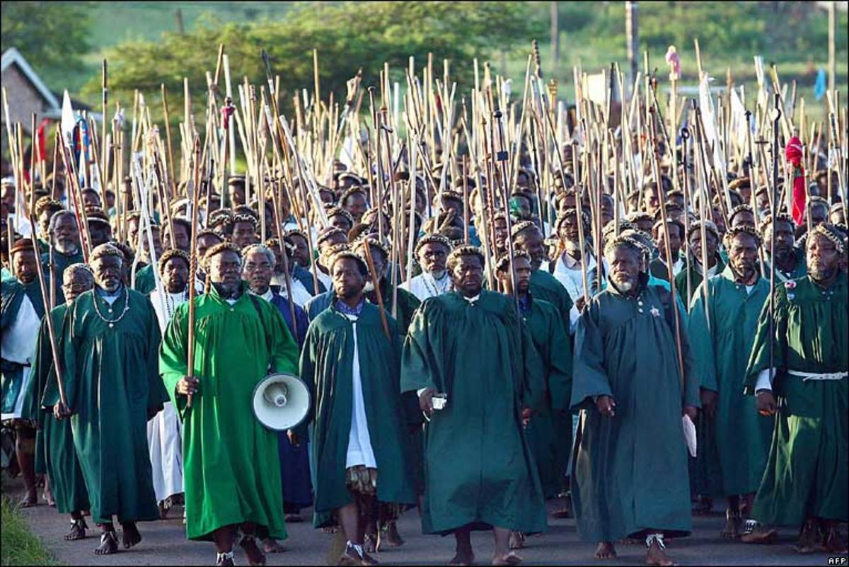 The members of the African church of Shembe, in South Africa. Note their walking barefooted and all the elders in the front rows