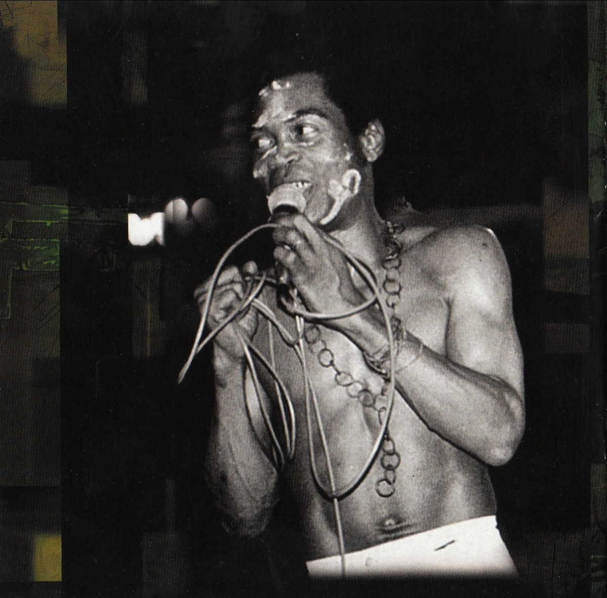 Performing live, Fela belts-out his lyrics in 'pidgin-English' and most of his songs very critical of the military regime in Nigeria
