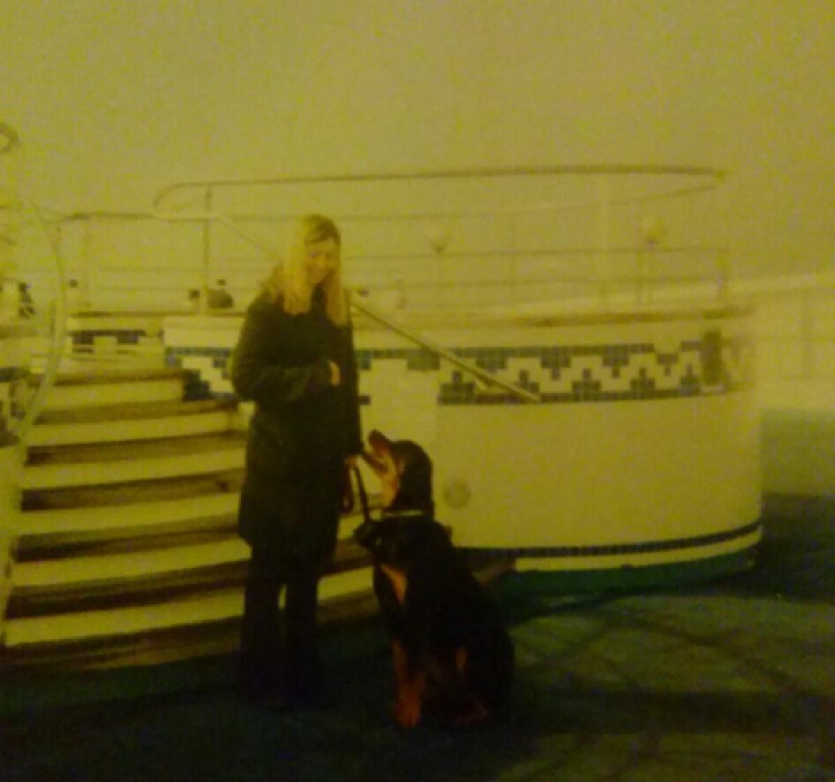 My dog on a cruise-like ship.