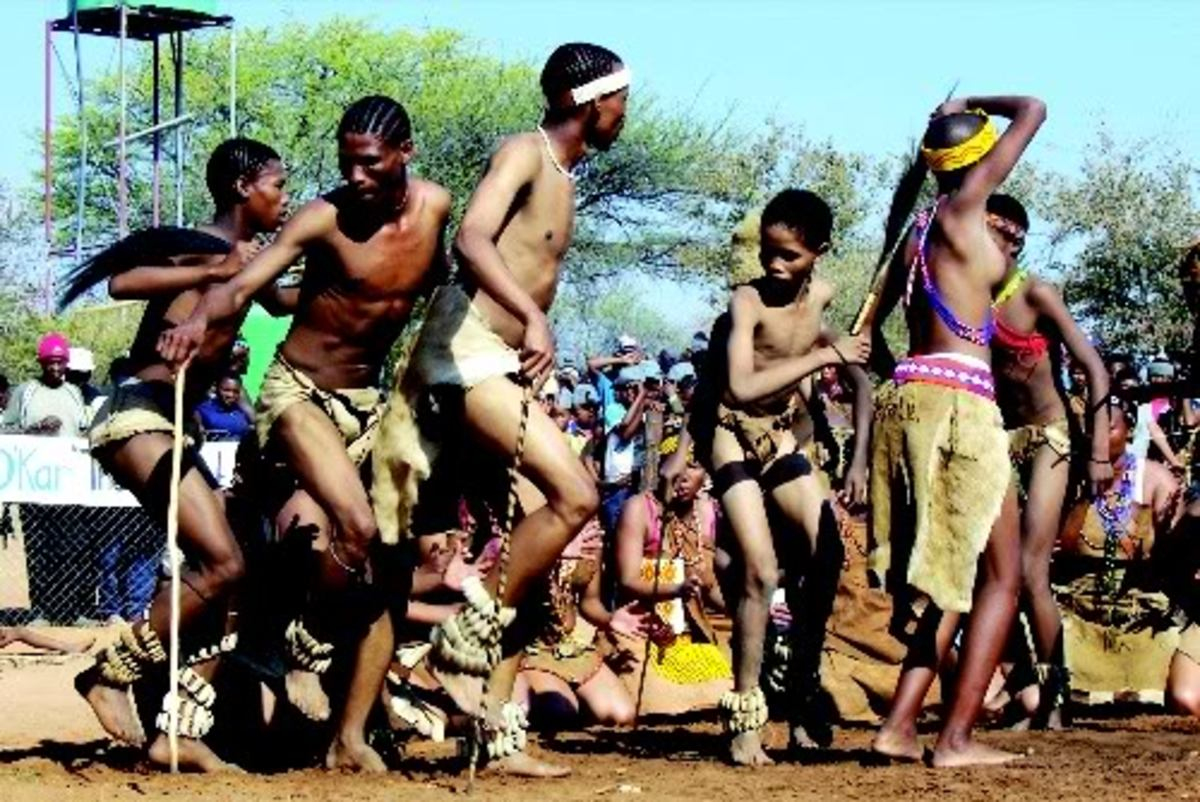 Xanikhwe dancers from the Central Kalahari going through their paces at the Kuru San Festival at D'Kar, South(West) Africa