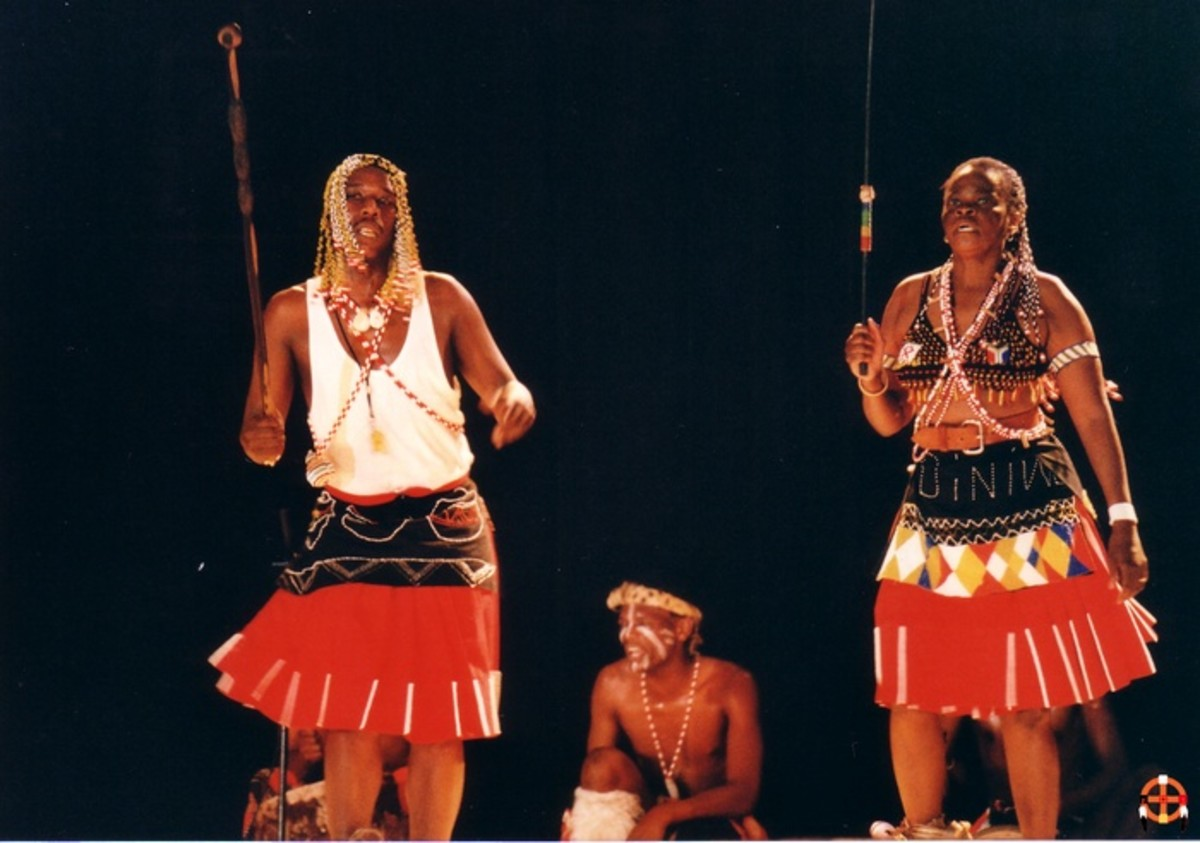 Sangomas doing their ancestral dance backed up by a drum or drums
