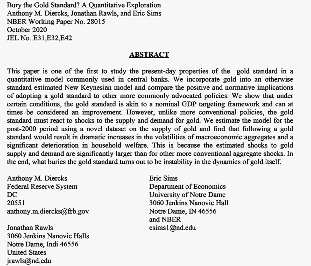 (Cont'd) Excerpt from study by Anthony M, Diercks, Jonathan Rawls and Eric Sims, three economists on the Gold Standard.