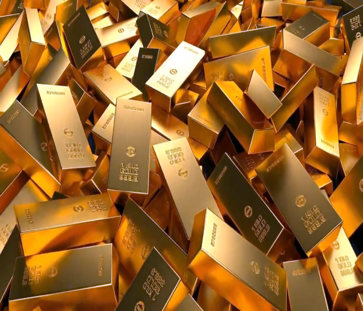 A quantity of refined Shiny gold bars.