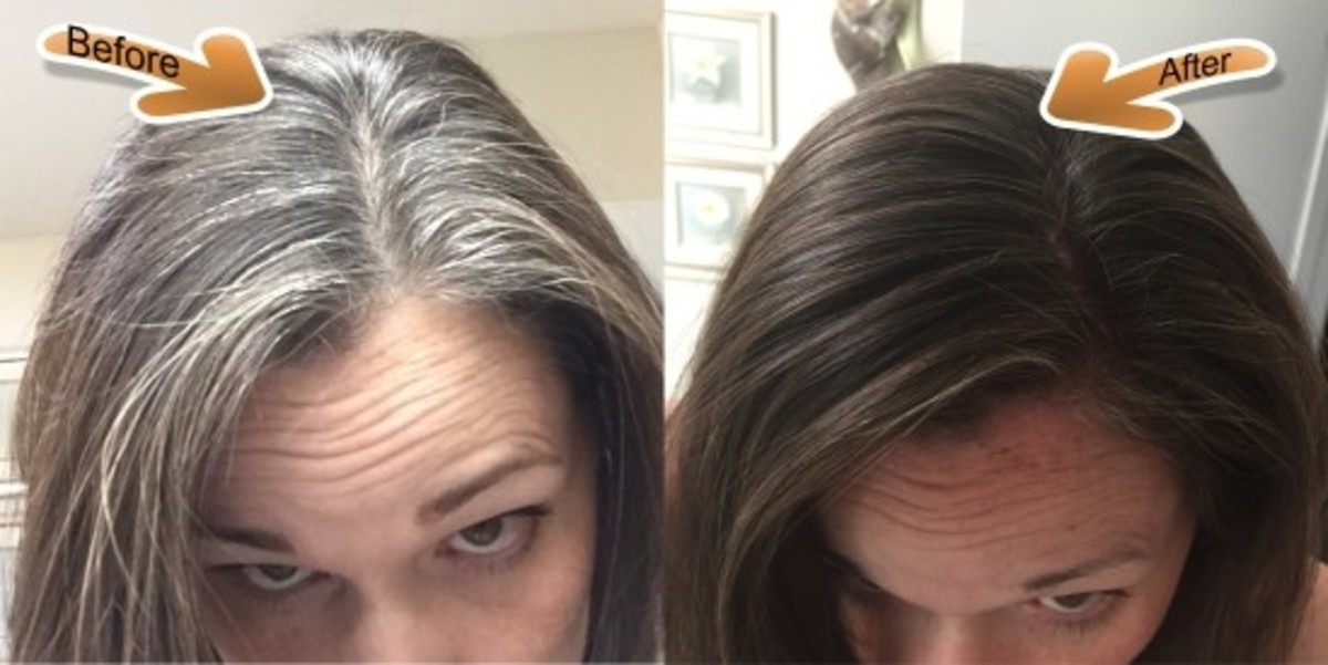 Before and after a henna application on grey hair.