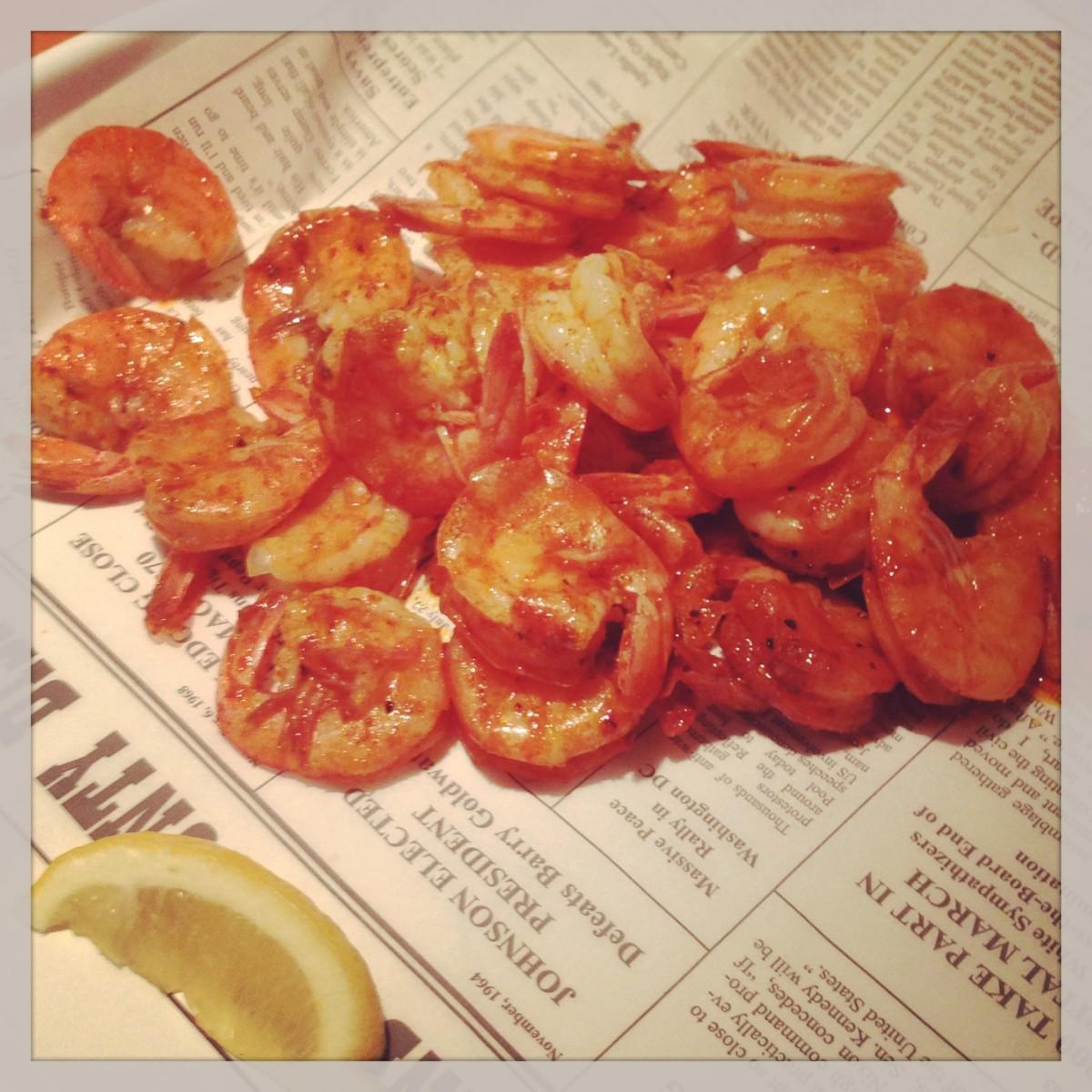 Bucket o'shrimp - Cajun Style - simply delicious!