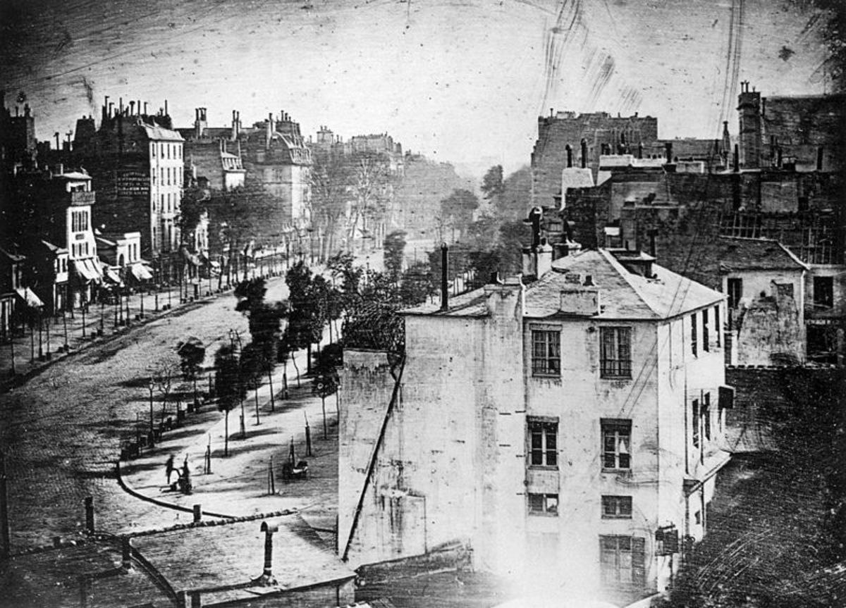 """BOULEVARD DU TEMPLE"" BY DAGUERRE IN 1838"