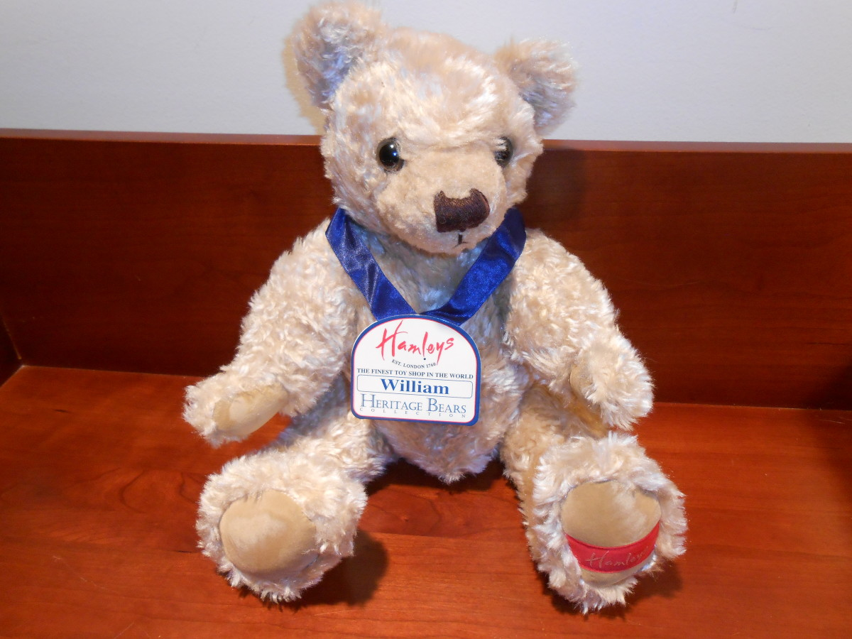 "I just found this bear at Goodwill for $1.99 and it's originally from England. It's my newest bear and I am quite taken with ""William."""