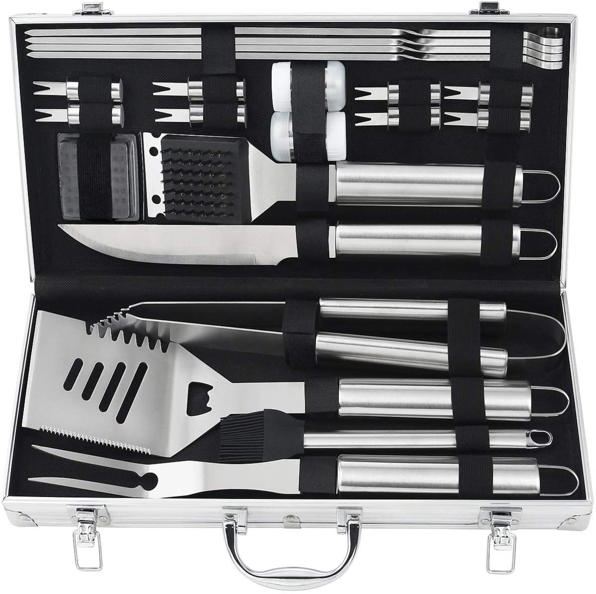 This portable grilling tool set is perfect for anyone who loves to cook or eat barbeque.