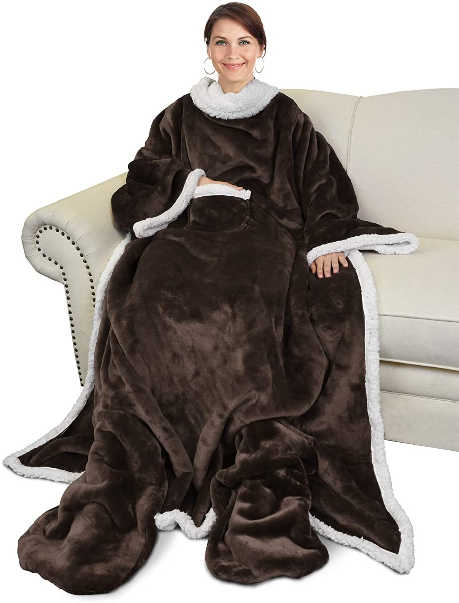This wearable blanket is as soft as can be and includes sleeves and foot pockets.
