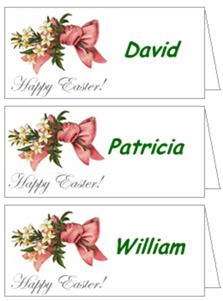Free Easter Decorations: Victorian Easter Table Place Cards Template