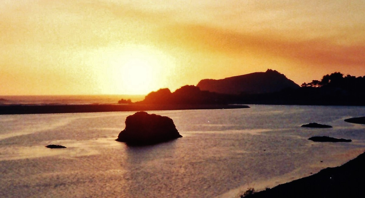 Sunset in Smith River, California, as viewed from our balcony