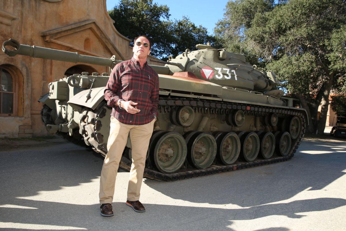 Arnold Schwarzenegger and his tank