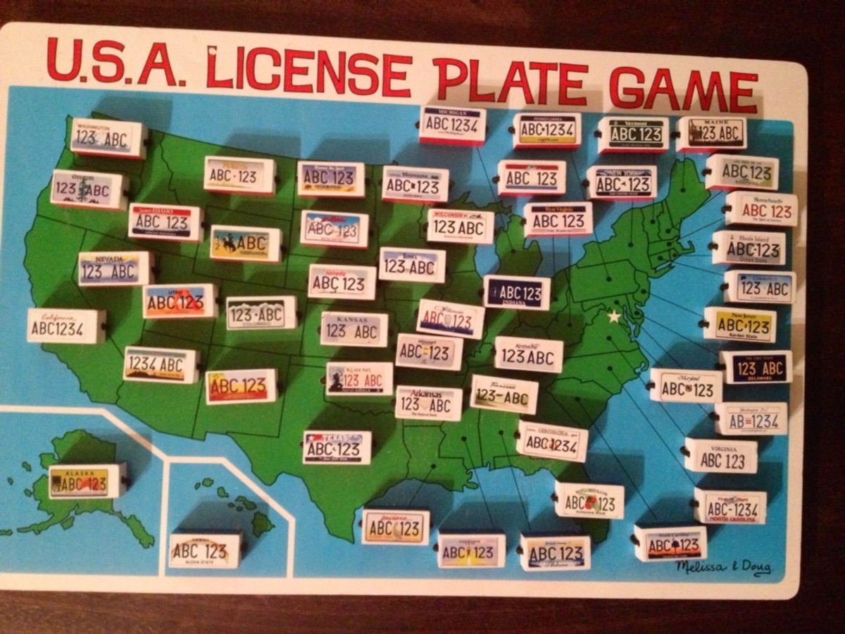 U. S. License Plate Travel Game we used.  You can have 2 teams.  The licenses flip to either a red or blue side.