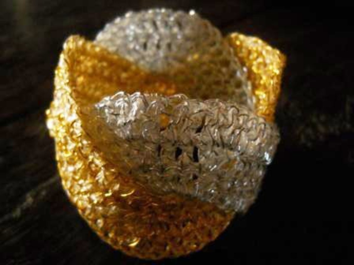 Gold and Silver WEAVED WAVE Bracelet  - This is probably the most luxurious-looking FO I ever made. I think it would look great even with a gown on a red carpet!