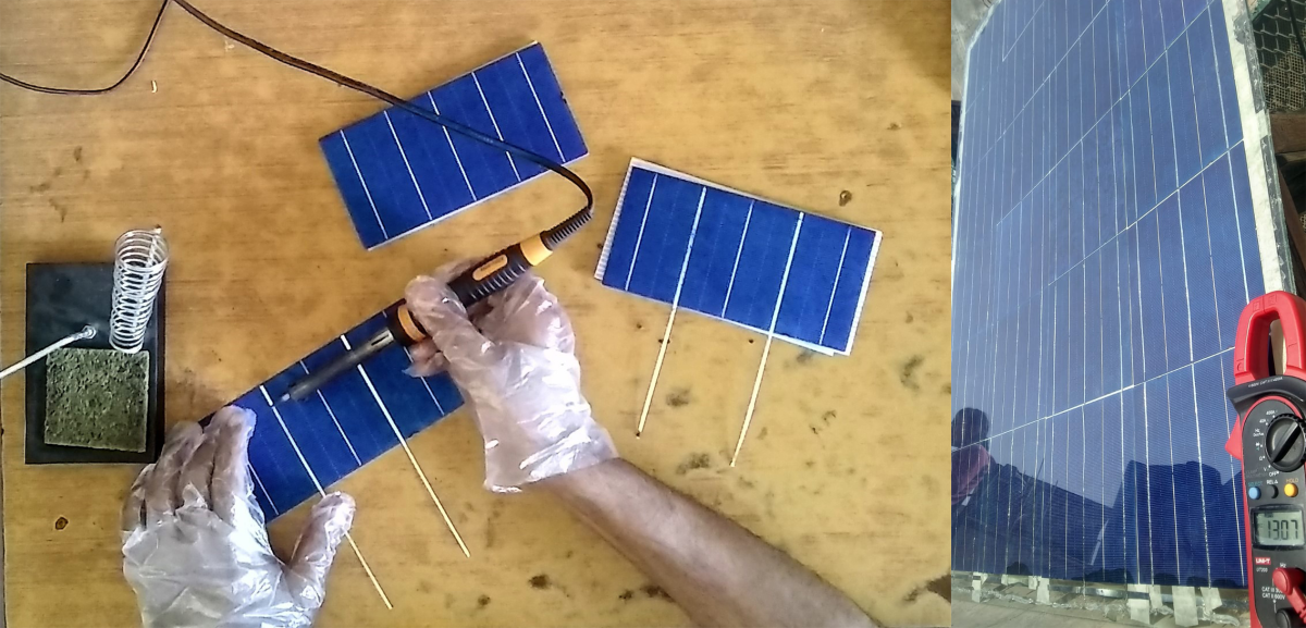 Soldering tabbing wire on solar cells consumes the most time. Right: Testing a DIY solar panel in sunlight.