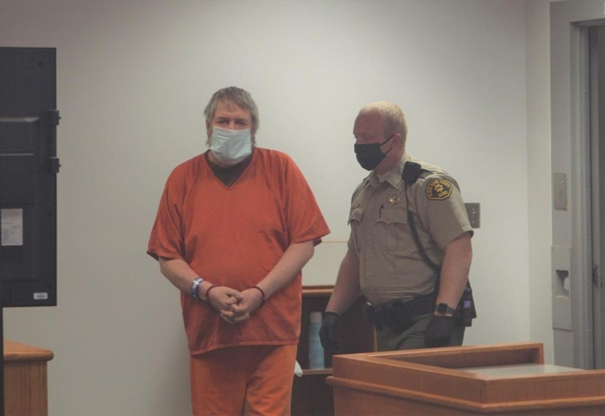 Clark Perry Baldwin appears in court on May 2020 in Black Hawk County Jail in Iowa. Photo courtesy of the WCF Courier.