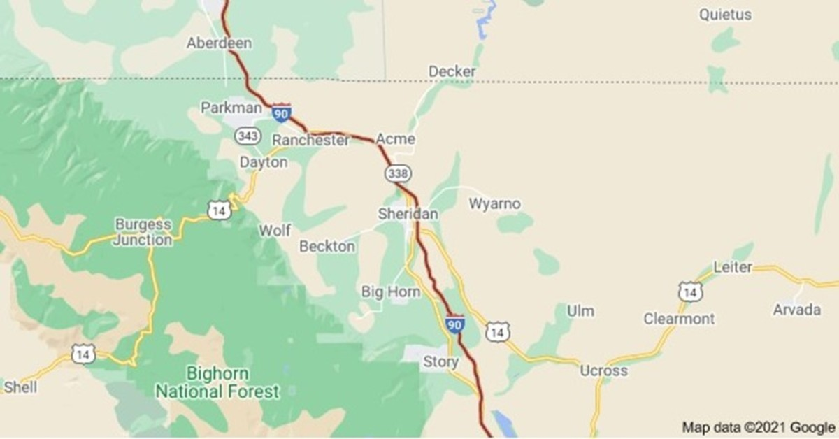 Sheridan County Jane Doe was found 400 miles away from where Bitter Creek Betty was found in Wyoming. Photo courtesy of Google Maps.