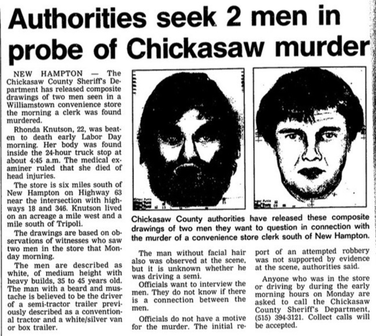 Two composites of suspects were released and mailed to 1,500 truck stops in an effort to identify the murderer of Rhonda Knutson. Photo courtesy of Iowa Cold Cases.