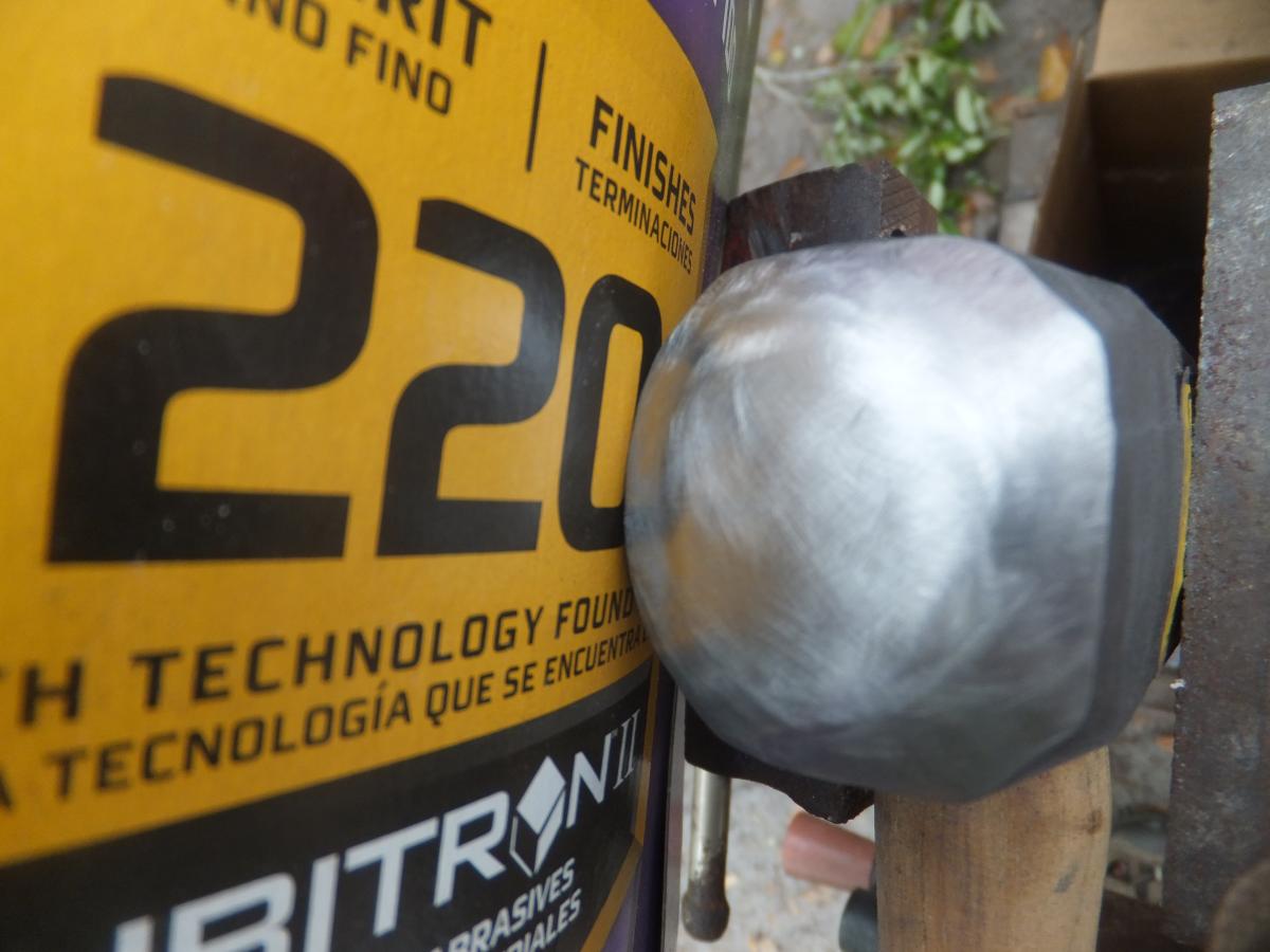 220 grit sanded blacksmith hammer face