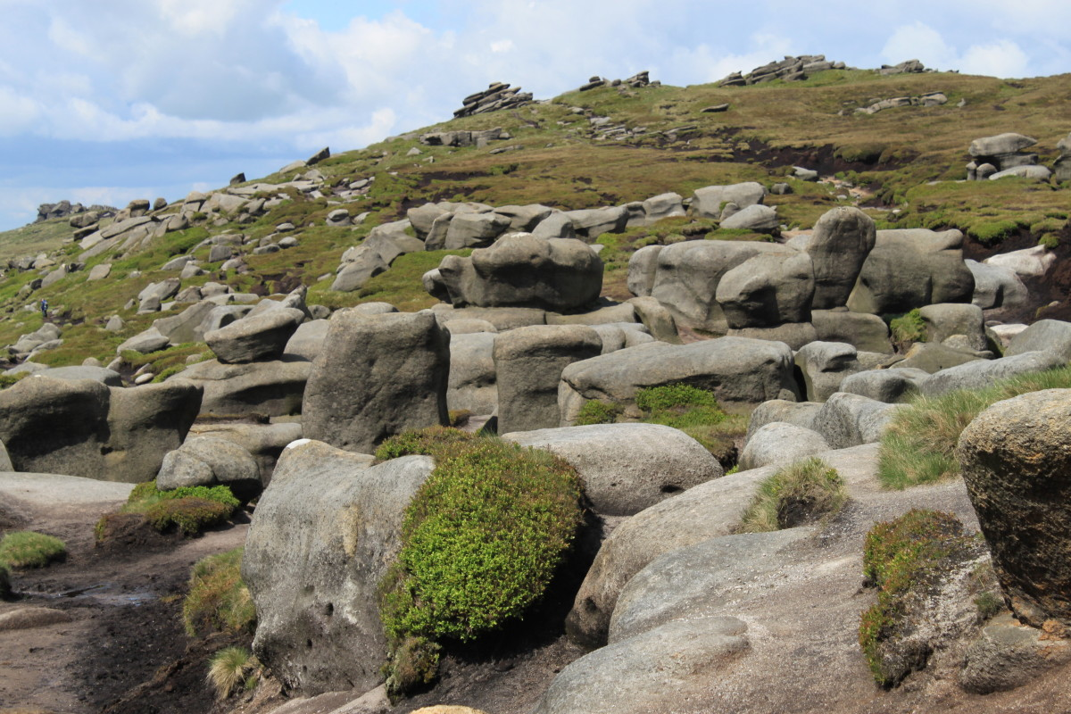 The almost lunar landscape on the moorland top of Kinder Scout