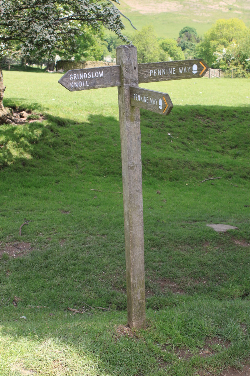 The final Pennine Way signpost before Edale which takes you back to the start and a well earned pint in the Old Nags Head- But only if you're not driving.