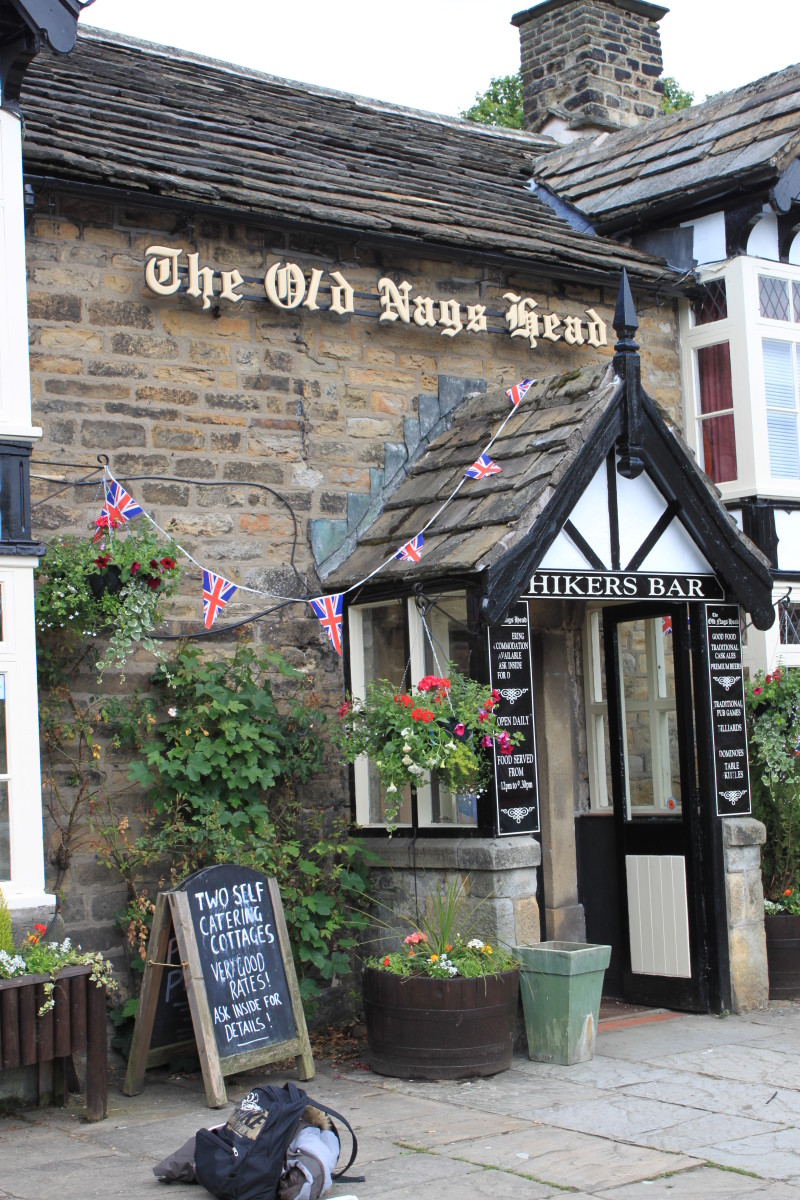The start of the walk up Kinder Scout from Edale—The Old Nags Head, Edale Hikers Bar. Follow the public footpath up the lane to the left of the pub.