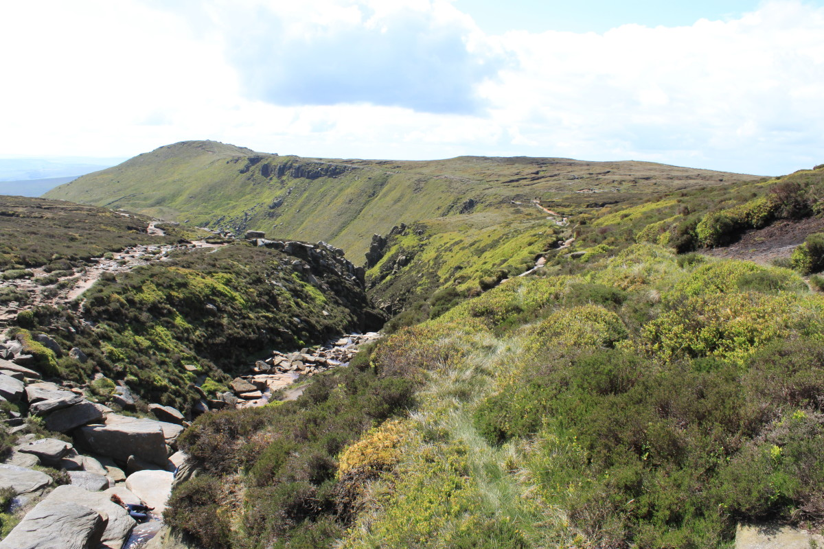 The View back down Grindsbrook Clough from Kinder Scout Plateau