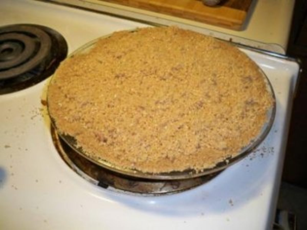 Unbaked Charoset (Haroset) Pie with crumb topping