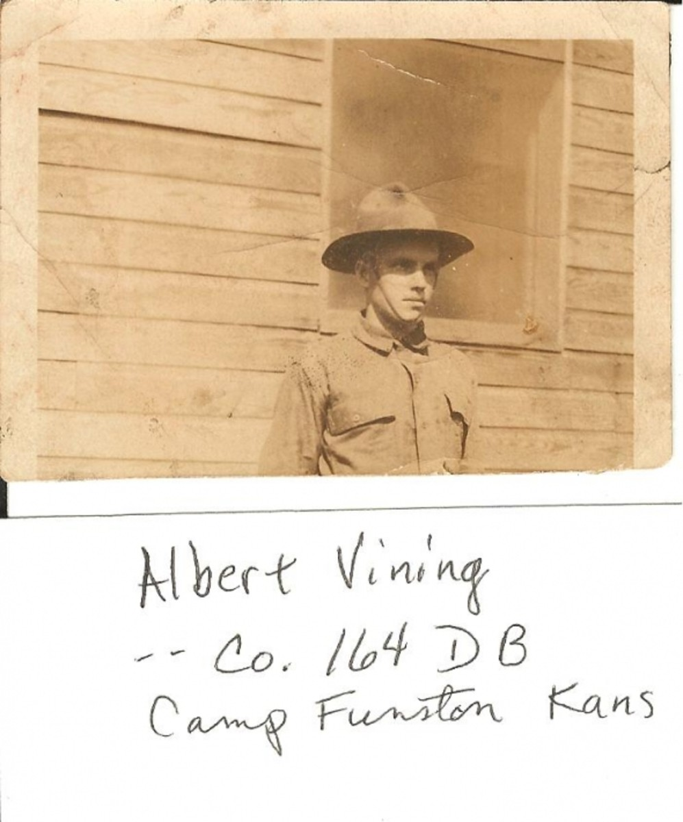 Photo of Albert Vining at Camp Funston, Kansas before he went to France.