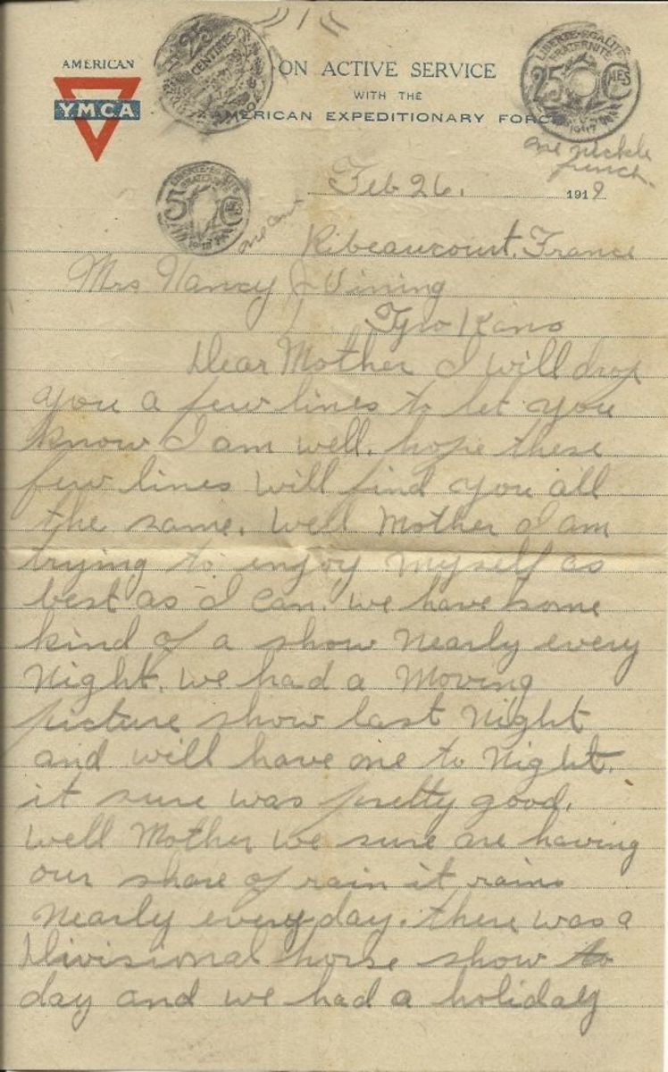 Page 1 of letter from Albert Vining