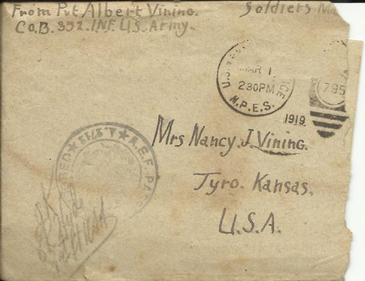 Letter from Albert Vining to his mother in Tryo, Kansas. Albert was Clarence's brother-in-law.