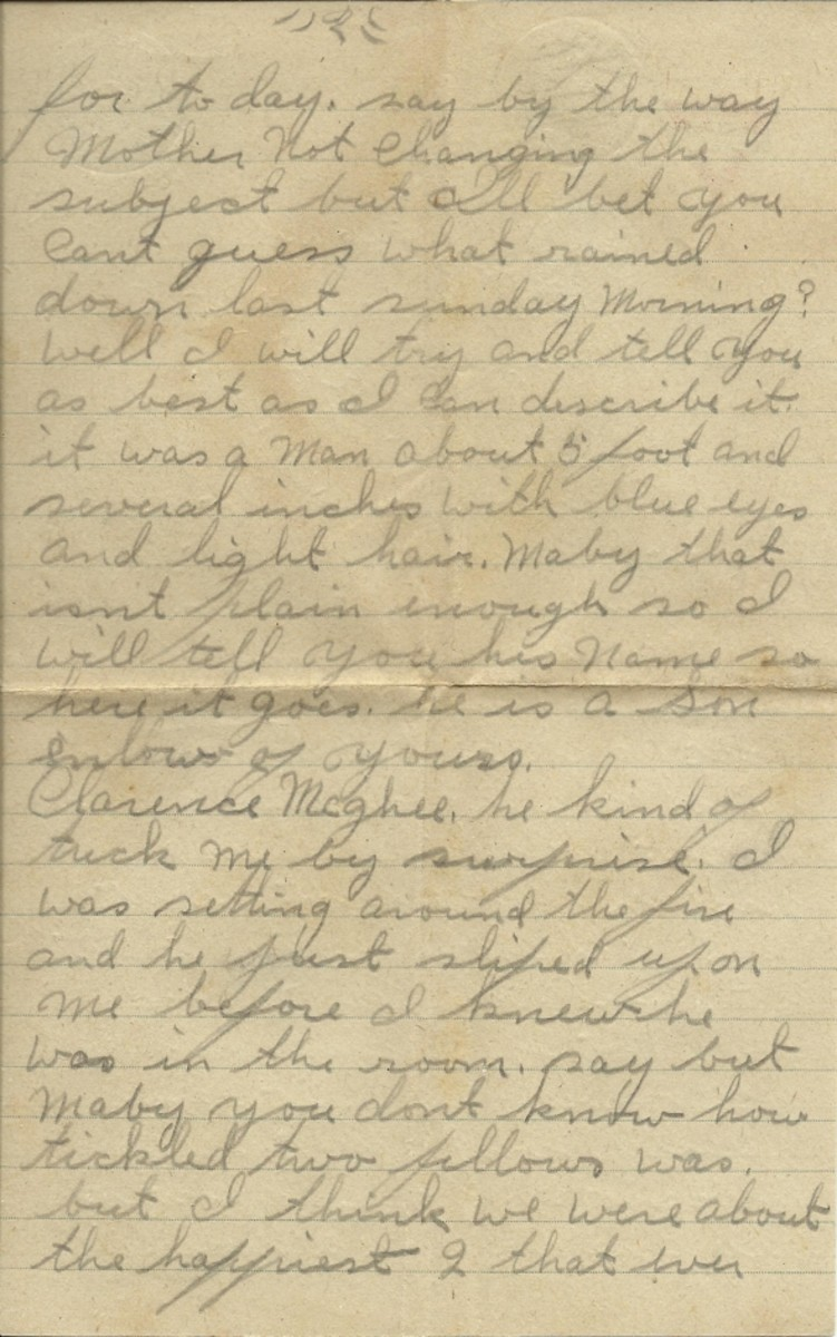 Page 2 of letter telling about the surprise visit of Clarence McGhee.