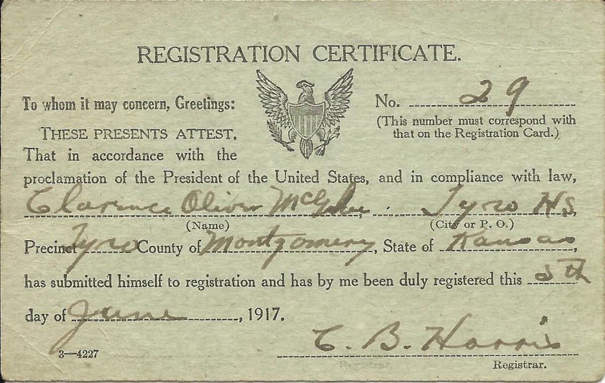 He registered June 5, 1917 in Tyro, Montgomery County, Kansas.