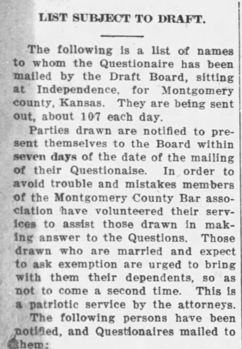 This clipping is from the South Kansas Tribune, 09 Jan 1918, Wed, Page 1. A long list of names, including my grandfather's, followed the instructions. It's interesting that it tells married men to bring their wife in requesting exemption.