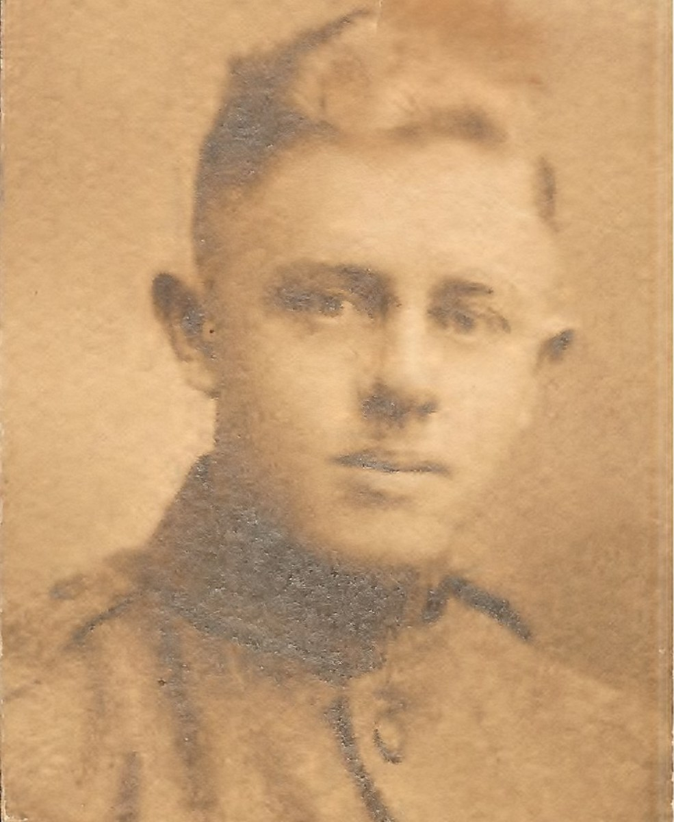 Photo of Clarence McGhee in his WWI uniform - from the collection of Gail Lee McGhee