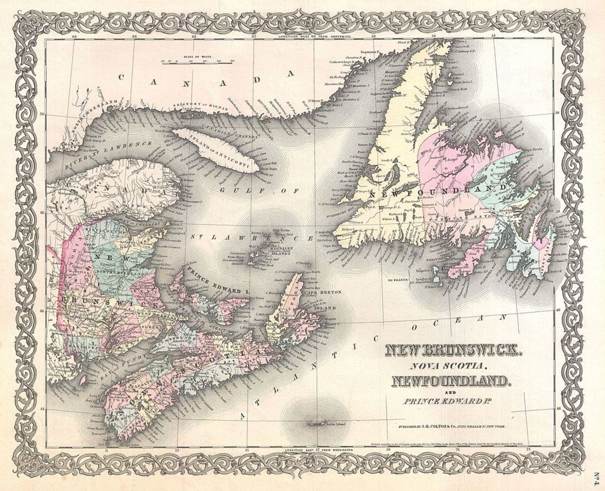 1855 Map of the Maritimes