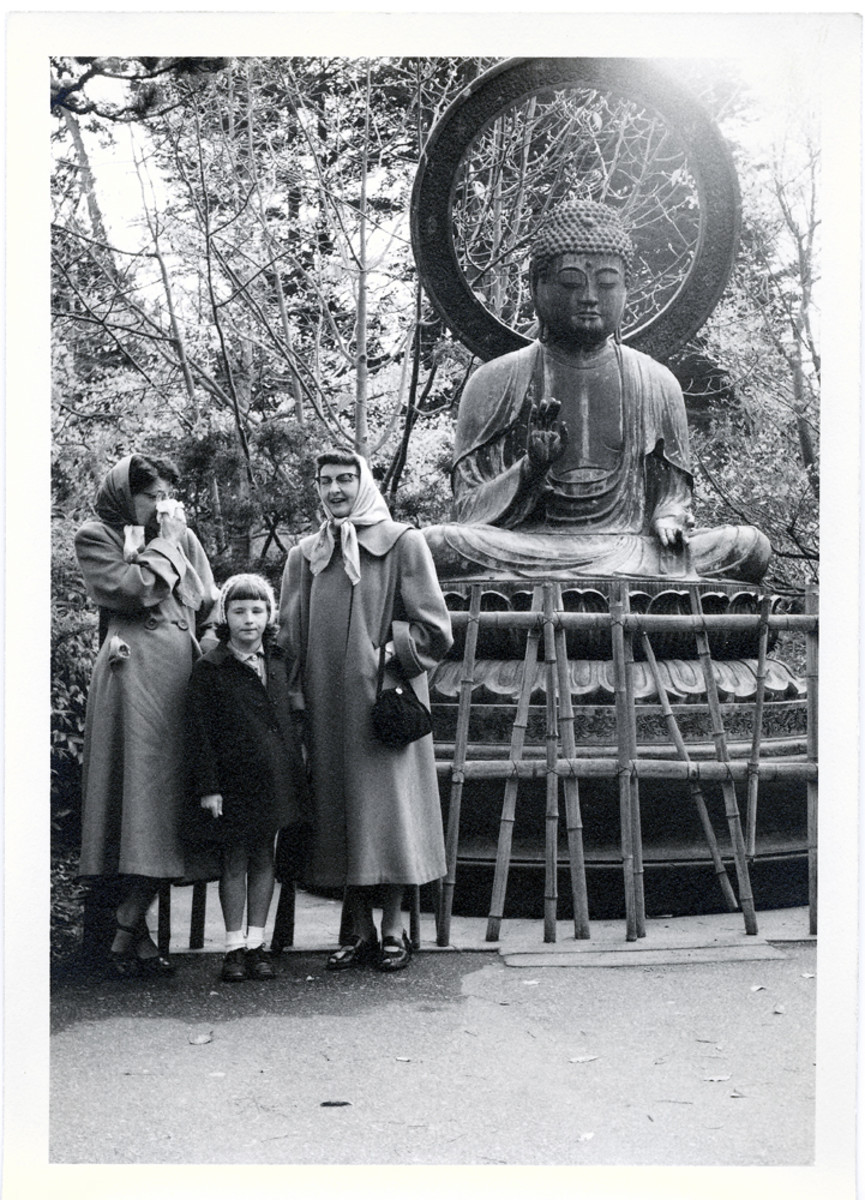Typical appropriate dress for SF summers.  Taken in Golden Gate Park, in the Japanese Tea Garden.  circa 1957.