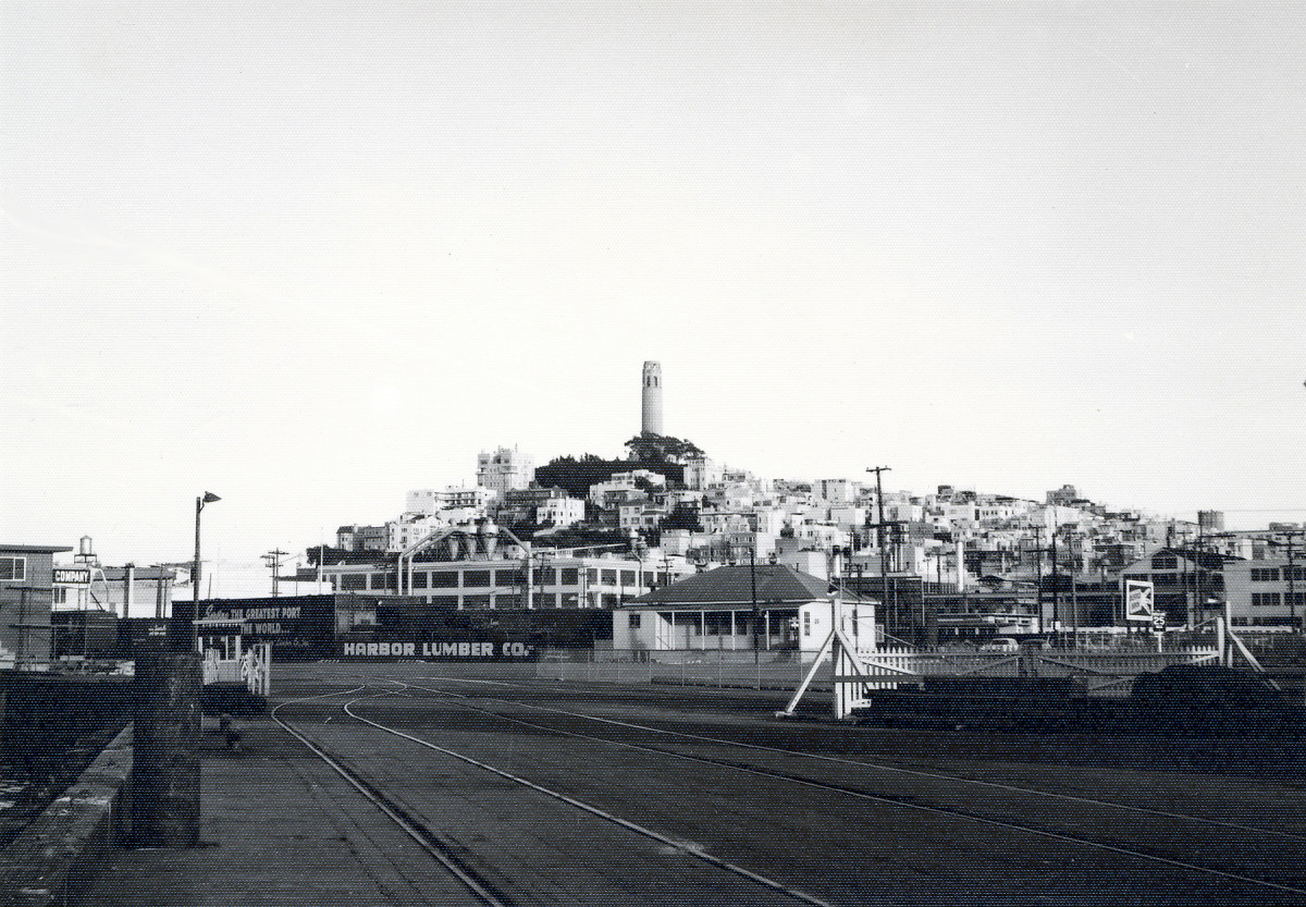 Coit Tower from the Embarcadero, circa 1953; compare with similar color view, below, from a closer position