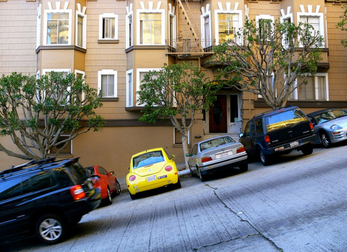 Some of the streets are so steep, you must park this way instead of parallel.