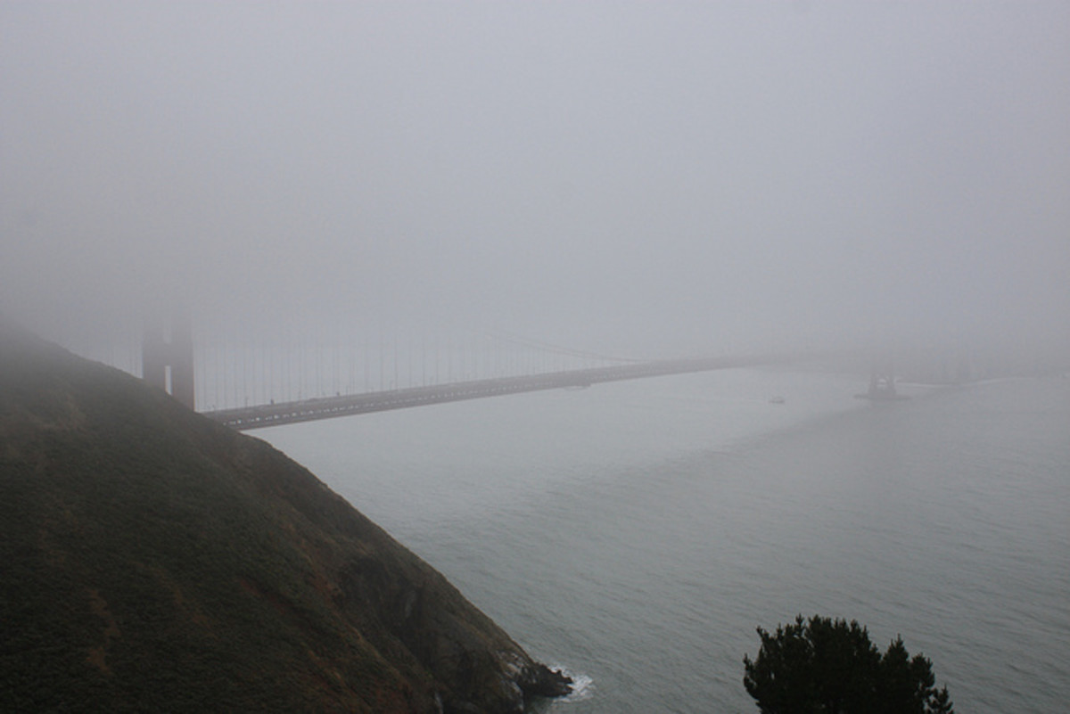More typical of summers in San Francisco is this 'disappearing bridge' scene