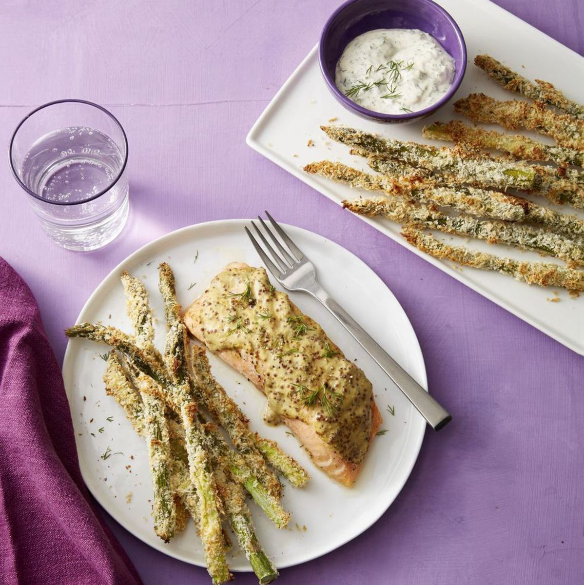 Salmon with a mustard-dill topping along with  crispy asparagus fries is an irresistible side dish.