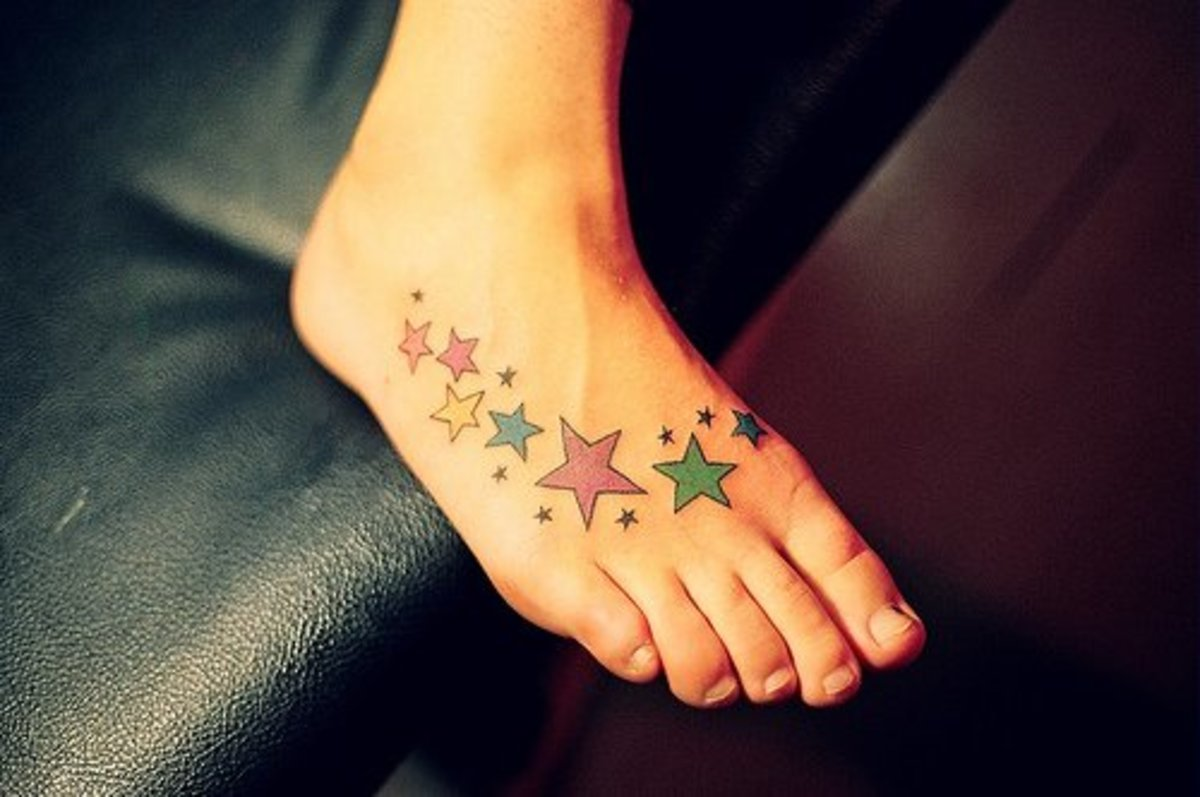 A foot star tattoo.