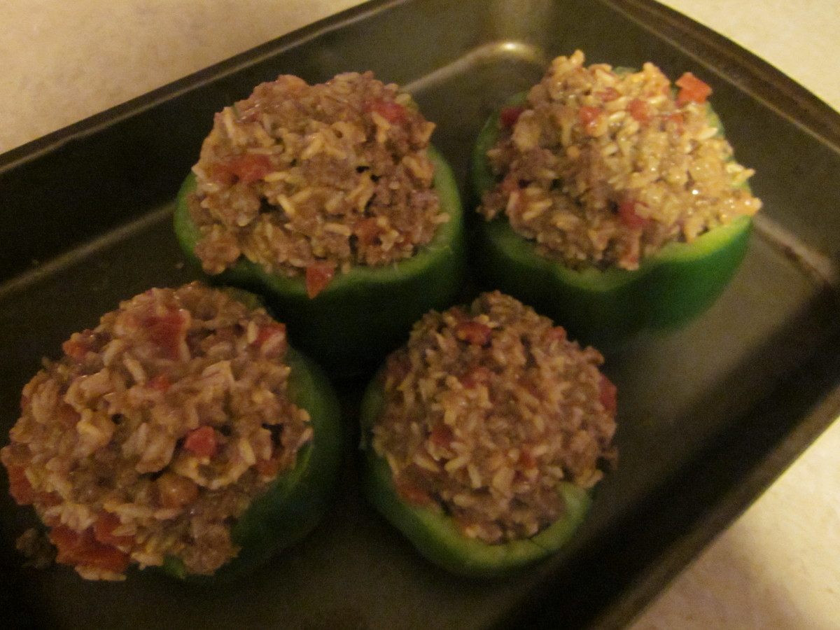 Green Peppers Stuffed-Ground Beef Recipe