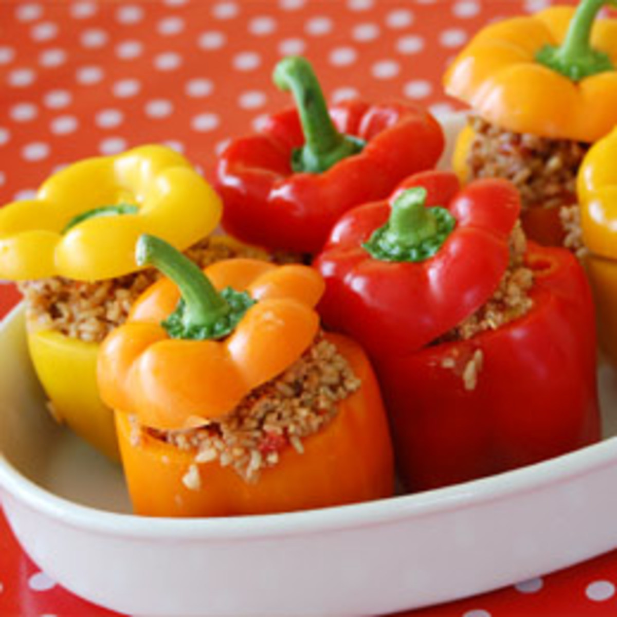 Save the bell pepper tops for a nice presentation