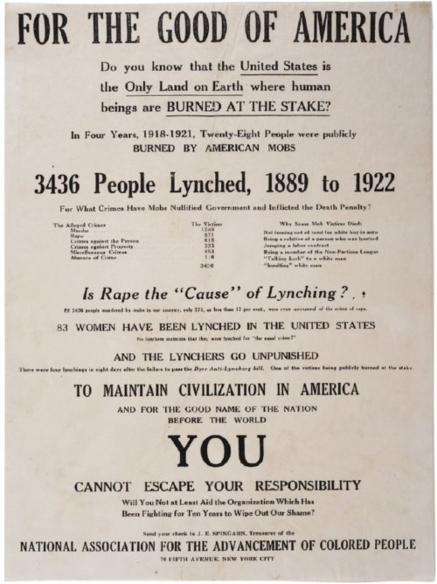 NAACP Anti-Lynching poster.  By 1922, the NAACP was itself trying to dispel the myth that false rape accusations were the cause of lynchings.